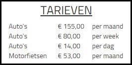 Parkeergarage tarieven
